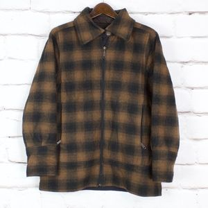 Woolrich Brown Black Plaid Wool Jacket Coat Size L